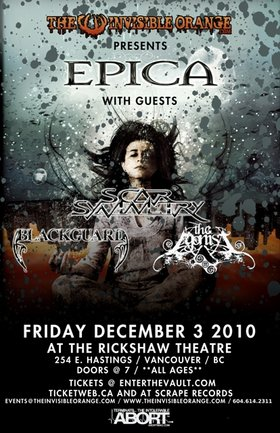 Epica, Scar Symmetry, Blackguard, The Agonist @ Rickshaw Theatre Dec 3 2010 - Jan 21st @ Rickshaw Theatre