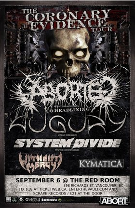 Aborted, Augury, System Divide, Without Mercy, Kymatica @ The Red Room Sep 6 2010 - Jul 3rd @ The Red Room