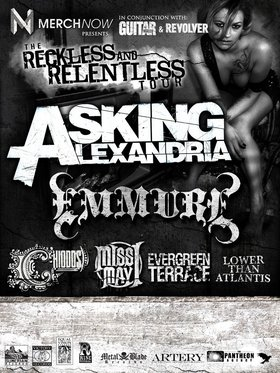RESTLESS & RELENTLESS TOUR: Asking Alexandria, Emmure, Chiodos, Miss May I, Evergreen Terrace, Lower Than Atlantis @ Rickshaw Theatre Mar 30 2011 - Sep 23rd @ Rickshaw Theatre