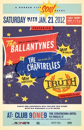 Garden City Soul Revue: The Ballantynes, The Chantrelles, The Truth Sound System @ Distrikt Jan 21 2012 - Mar 4th @ Distrikt