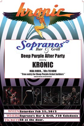 "Deep Purple Pre- Party and After Party: """"Kronic"""" @ Soprano's Feb 25 2012 - Jan 23rd @ Soprano's"