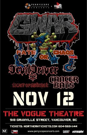 GWAR, Devildriver, Cancer Bats, LEGACY OF DISORDER @ The Vogue Theatre Nov 12 2012 - Jul 10th @ The Vogue Theatre