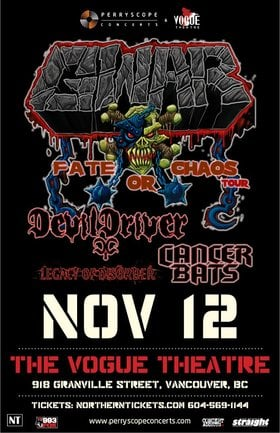GWAR, Devildriver, Cancer Bats, LEGACY OF DISORDER @ The Vogue Theatre Nov 12 2012 - Jan 18th @ The Vogue Theatre