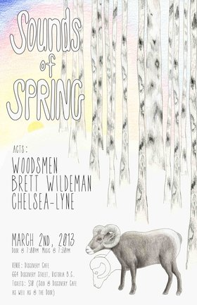 Sounds of Spring: Woodsmen, Brett Wildeman, Chelsea-Lyne @ Discovery Coffee & Lounge Mar 2 2013 - Apr 18th @ Discovery Coffee & Lounge