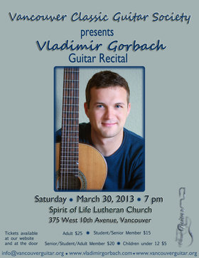 Classical Guitar Recital: Vladimir Gorbach @ Spirit of Life Lutheran Church Mar 30 2013 - Jul 23rd @ Spirit of Life Lutheran Church