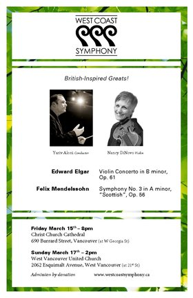 The West Coast Symphony @ West Vancouver United Church Mar 17 2013 - Aug 22nd @ West Vancouver United Church