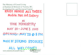Mobile Mail Art Gallery : Curated by Jo Cook @ Ministry of Casual Living May 20 2005 - Oct 25th @ Ministry of Casual Living