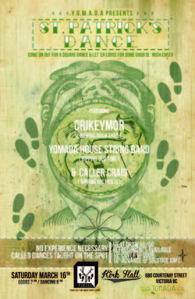 Yomada Presents:  St. Patrick's Dance!  Saturday night!: Crikeymor, YOMADA's House Stringband, Caller Craig @ Kirk Hall Mar 16 2013 - Nov 27th @ Kirk Hall