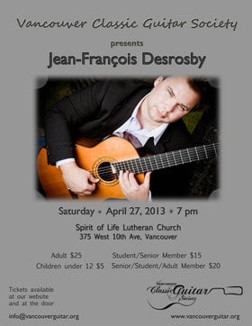 Classical Guitar Recital: Jean-Francois Desrosby @ Spirit of Life Lutheran Church Apr 27 2013 - Jul 23rd @ Spirit of Life Lutheran Church