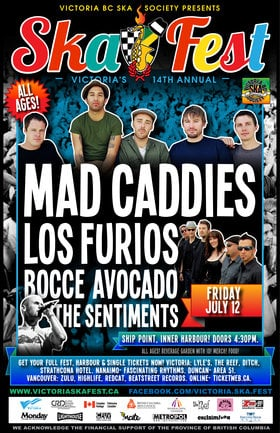 Mad Caddies, Los Furios, bocce avocado, The Sentiments @ Ship Point (Inner Harbour) Jul 12 2013 - Sep 26th @ Ship Point (Inner Harbour)