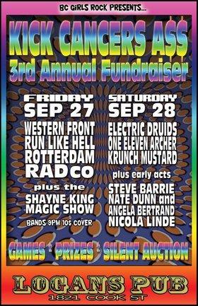 KICK CANCER'S A$$ (DAY 2): Electric Druids, One Eleven Archer, Krunch Mustard, Steve Barrie, Nate Dunn & Angela Bertrand, Nicola Linde @ Logan's Pub Sep 28 2013 - Oct 16th @ Logan's Pub