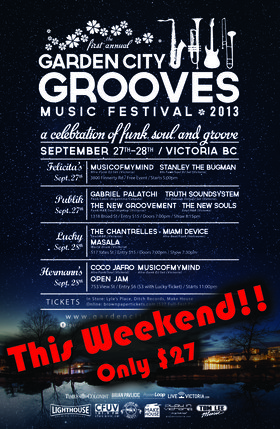 Garden City Grooves Music Festival Day 2: MIAMI DEVICE , The Chantrelles, Masala @ Lucky Bar Sep 28 2013 - Mar 4th @ Lucky Bar