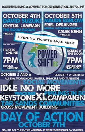 Come join the PowerShift BC Keynote ft.: The Boom Booms, Ta'KaiyaI Blaney, David Suzuki, Crystal Lamenan @ Crystal Garden Oct 4 2013 - Sep 29th @ Crystal Garden