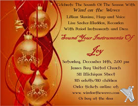 Sound Your Intruments of Joy: Wind on the Waves, Harp, Recorder, Voice @ James Bay United Church Dec 14 2013 - Feb 29th @ James Bay United Church
