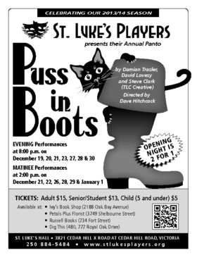 """Puss in Boots"" Christmas panto @ St. Luke's Anglcian Church-Hall Dec 19 2013 - Jan 20th @ St. Luke's Anglcian Church-Hall"