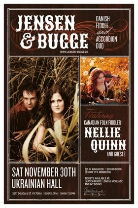 Danish Folk Music: Jensen & Bugge Duo (featuring ), Nellie Quinn (& Friends) @ Ukrainian Cultural Centre Nov 30 2013 - May 30th @ Ukrainian Cultural Centre
