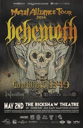 METAL ALLIANCE TOUR 2014: BEHEMOTH, Goatwhore, 1349, Inquisition (cancelled), Black Crown Initiate, Tyrants Blood @ Rickshaw Theatre May 2 2014 - Oct 17th @ Rickshaw Theatre