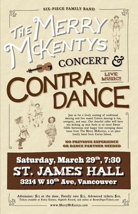 Concert and Contra Dance! with: The Merry McKentys @ Trees Organic Coffee House - Granville Apr 4 2014 - Oct 23rd @ Trees Organic Coffee House - Granville