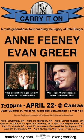Anne Feeney & Evan Greer Tour to Honor the Legacy of Pete Seeger: Anne Feeney, Evan Greer, Without A Net, Morgan Purvis @ Camas Book and Infoshop Apr 21 2014 - Nov 15th @ Camas Book and Infoshop