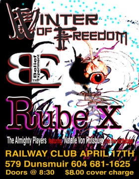 Winter Of Freedom, The Belief Experiment, Rube X @ Railway Club Apr 17 2014 - Sep 28th @ Railway Club