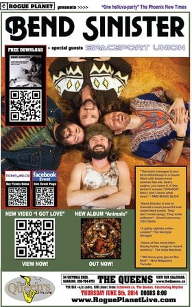 BEND SINISTER with SPACEPORT UNION: Bend Sinister, Spaceport Union @ The Queens Jun 5 2014 - Apr 1st @ The Queens