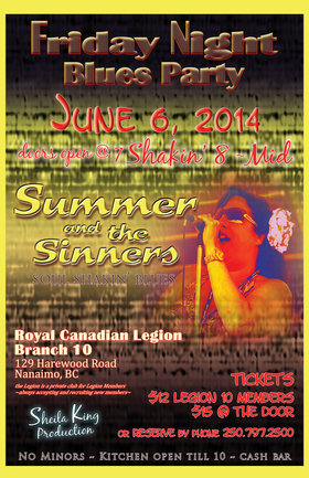One Night Only: Summer and The Sinners @ Royal Canadian Legion Branch #10 Jun 6 2014 - Sep 25th @ Royal Canadian Legion Branch #10