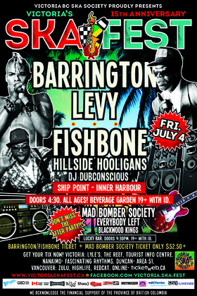 BARRINGTON LEVY, FISHBONE TWIN BILL AT SHIP POINT INNER HARBOUR (All Ages/Beverage Garden w/ID.): Barrington Levy & Detour Posse, FISHBONE, Hillside Hooligans, DJ Dubconscious @ Ship Point (Inner Harbour) Jul 4 2014 - Jun 26th @ Ship Point (Inner Harbour)