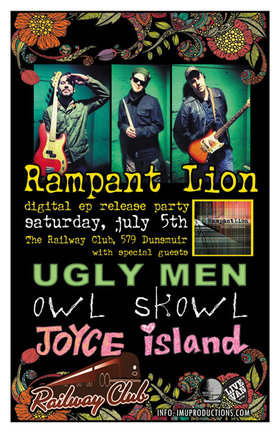 RAMPANT LION DIGITAL EP RELEASE w/ aspecial guests: Rampant Lion, Owl Skowl, Ugly Men, JOYCE ISLAND @ Railway Club Jul 5 2014 - Jun 3rd @ Railway Club