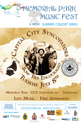 CONCERT #3: Capital City Syncopators @ MEMORIAL PARK 1212 ESQUIMALT RD ESQUIMALT Jul 8 2014 - Aug 13th @ MEMORIAL PARK 1212 ESQUIMALT RD ESQUIMALT