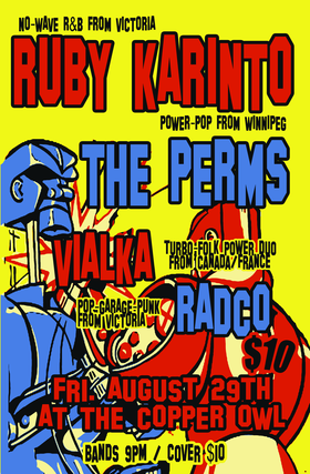 RUBY KARINTO, The Perms, Vialka, RADCO @ Copper Owl Aug 29 2014 - Apr 18th @ Copper Owl