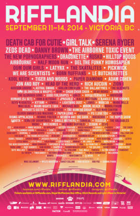 RIFFLANDIA 2014: Danny Brown, Zeds Dead, Adam Cohen, Paper Lions, Chet, Noah Edwards, Rob Pue, & more! @ Various Venues Sep 11 2014 - May 14th @ Various Venues