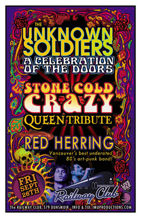 DOORS & QUEEN Tributes w/ special guests RED HERRING!: The Unknown Soldiers, Stone Cold Crazy, Red Herring @ Railway Club Sep 26 2014 - Feb 24th @ Railway Club
