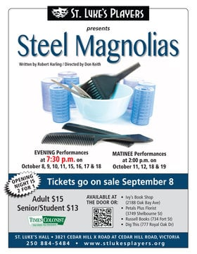 Steel Magnolias @ St. Luke's Anglcian Church-Hall Oct 8 2014 - Jan 20th @ St. Luke's Anglcian Church-Hall