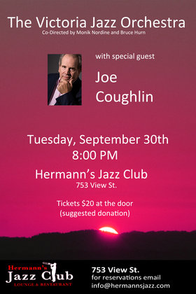 The Victoria Jazz Orchestra, Joe Coughlin @ Hermann's Jazz Club Sep 30 2014 - Sep 20th @ Hermann's Jazz Club