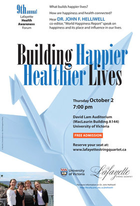 9th Annual Lafayette Health Awareness Forum: Building Happier, Healthier Lives: Lafayette String Quartet @ David Lam Auditorium Oct 2 2014 - Oct 30th @ David Lam Auditorium