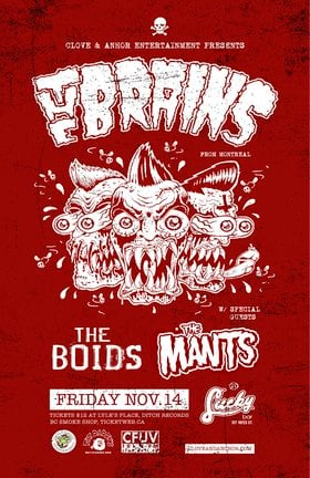 The Brains, BOIDS, The Mants @ Lucky Bar Nov 14 2014 - Mar 31st @ Lucky Bar
