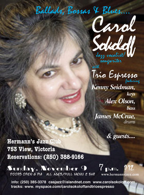 Tasty vocal/piano jazz: Carol Sokoloff, TRIO ESPRESSO, Kenny Seidman, piano, Alex Olson, bass, James McCrae, drums @ Hermann's Jazz Club Nov 9 2014 - Apr 7th @ Hermann's Jazz Club