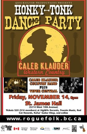 Caleb Klauder Country Band, Viper Central @ St. James Community Hall Nov 14 2014 - Aug 15th @ St. James Community Hall