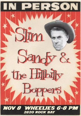 FREE: Slim Sandy and the Hillbilly Boppers @ Wheelies Motorcyles Nov 8 2014 - Dec 8th @ Wheelies Motorcyles