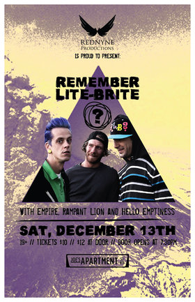 REMEMBER LITE-BRITE, Empire, Rampant Lion, Hello Emptyness @ Joe's Apartment Dec 13 2014 - Jun 3rd @ Joe's Apartment