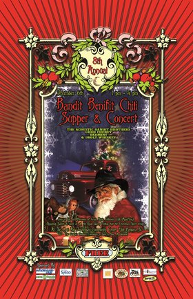 8th Annual Bandit Benefit Chili supper and Concert for Victoria's homeless: Acoustic Bandit Brothers, Gordie Cheyne , 9Volt Whiskey, Varmint @ Downtown Community Activity Center Dec 6 2014 - Jan 15th @ Downtown Community Activity Center