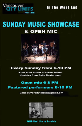 Sunday Music Showcase and Open Mic: Willy Ward and The Cooler Kings  (8:30PM), Blair Hebert (8PM), Open Mic (6-8PM) @ 1216 Bute Street Dec 14 2014 - Mar 28th @ 1216 Bute Street