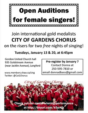 FEMALE SINGERS OF ALL AGES INVITED: City of Gardens Chorus @ Gordon United Church Hall Jan 13 2015 - Aug 12th @ Gordon United Church Hall