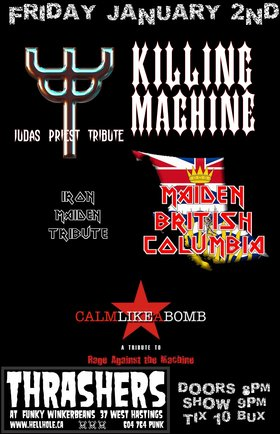 METAL TRIBUTES~~: Maiden BC  (IRON MAIDEN), Calm Like A Bomb @ Funky Winker Beans Jan 2 2015 - Jun 5th @ Funky Winker Beans