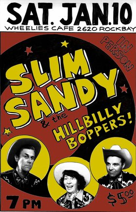 Slim Sandy and the Hillbilly Boppers @ Wheelies Motorcyles Jan 10 2015 - Dec 8th @ Wheelies Motorcyles