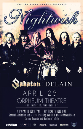 NIGHTWISH North America Tour 2015: Nightwish, Sabaton, Delain @ The Orpheum Apr 25 2015 - Apr 23rd @ The Orpheum