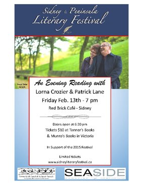 Poets Extraordinaire: Lorna Crozier,  Patrick Lane @ Red Brick Cafe Feb 13 2015 - Jun 1st @ Red Brick Cafe