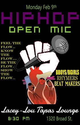 HIP HOP OPEN MIC: Jacob, Azziz, Greg Block @ Lacey-Lou Tapas Lounge Feb 9 2015 - Oct 19th @ Lacey-Lou Tapas Lounge