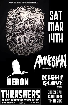 BOG, Amnesian, Heron, NIGHT GLOVE @ Funky Winker Beans Mar 14 2015 - Sep 29th @ Funky Winker Beans