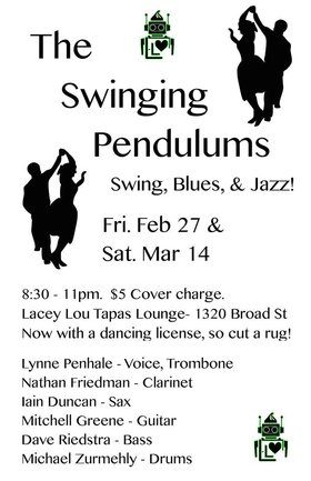 The Swinging Pendulums show & dance $5 cover: Lynne Penhale (Trombone/Voice), Iain Duncan (Saxophones), Nathan Friedman (Clarinets), mitchell green (guitar), Michael Zedhi (drums), Lukas Peladeau (bass) @ Lacey-Lou Tapas Lounge Mar 14 2015 - Aug 8th @ Lacey-Lou Tapas Lounge